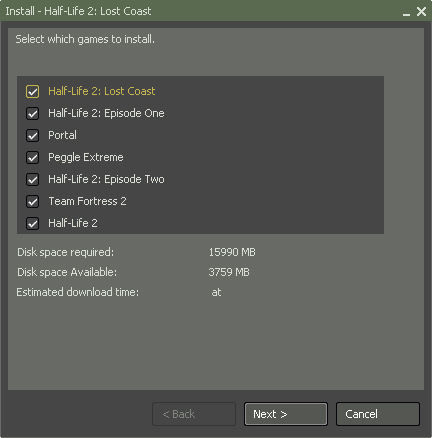 Orange box disk space requirements
